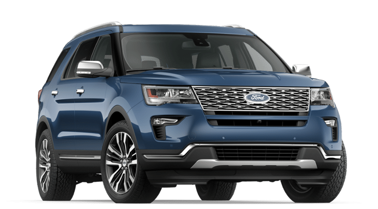 2019 Ford Explorer blue front view