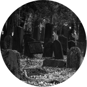 Circle Headstones in a Cemetery