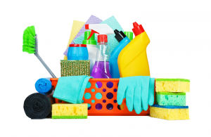 a pile of colorful cleaning supplies