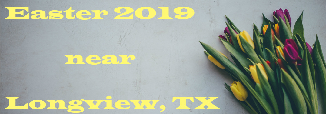 "A few colorful flowers lay against a cold cement wall. Pastel yellow text says, ""Easter 2019 near Longview, TX"""