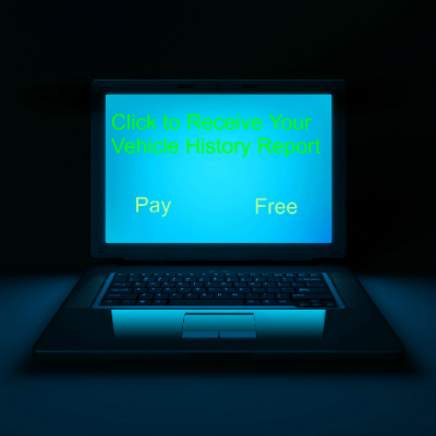 """A computer monitor glows blue with text in green that says, """"Click to Receive Your Vehicle History Report."""" Underneath, there are two options: """"Pay"""" and """"Free"""""""