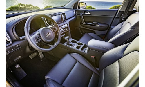 2018 Kia Sportage Interior sideways shot on drivers side with nice seating and steering wheel