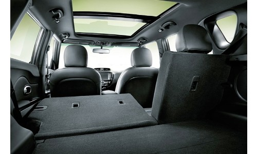 2019 Kia Soul interior from trunk with seat folded down black upholstery