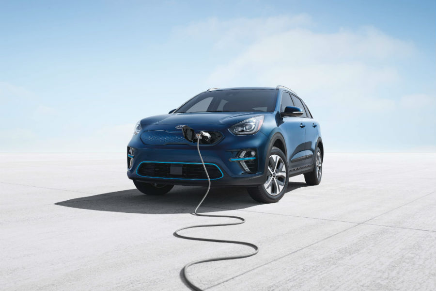 2019-Kia-Niro-EV-Exterior-Driver-Side-Front-Angle-Plugged-In