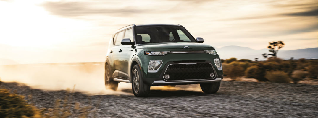 A front right quarter photo of the 2020 Kia Soul running through the desert.