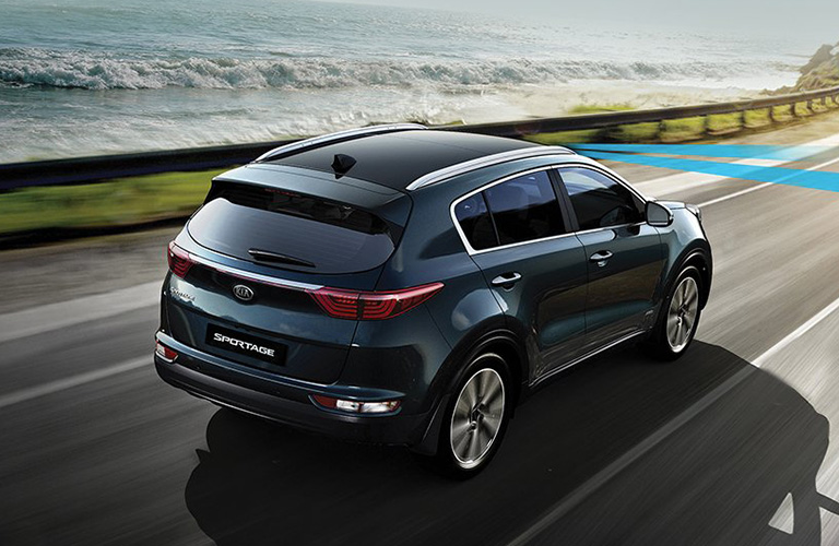 An overhead photo of the 2019 Kia Sportage on the road.