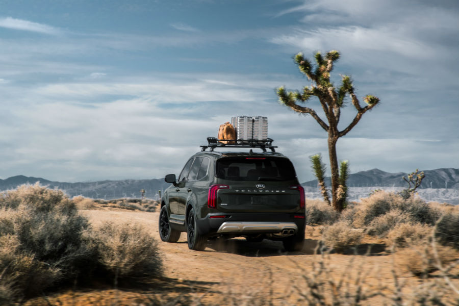 A photo of the 2020 Kia Telluride parked in the desert.