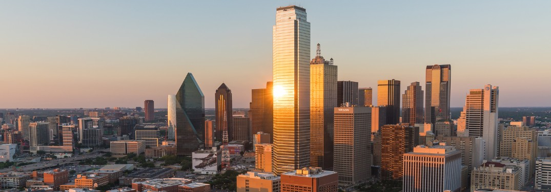 Aerial view of the Dallas Texas skyline at sunset