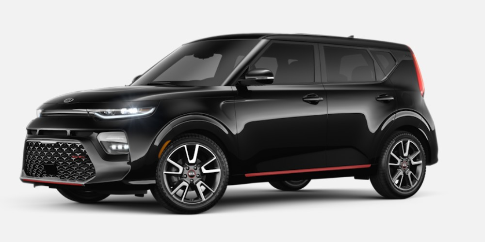 Front driver angle of the 2020 Kia Soul in Cherry Black color