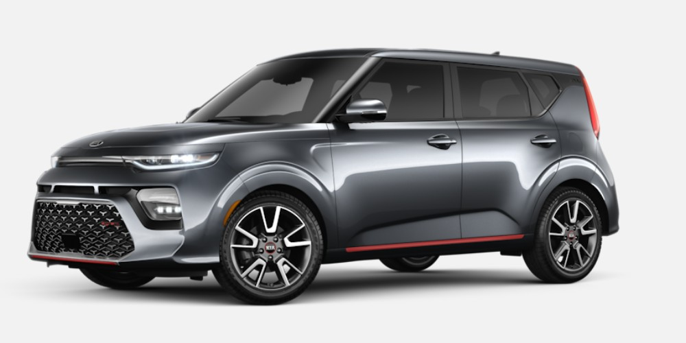 Front driver angle of the 2020 Kia Soul in Gravity Gray color