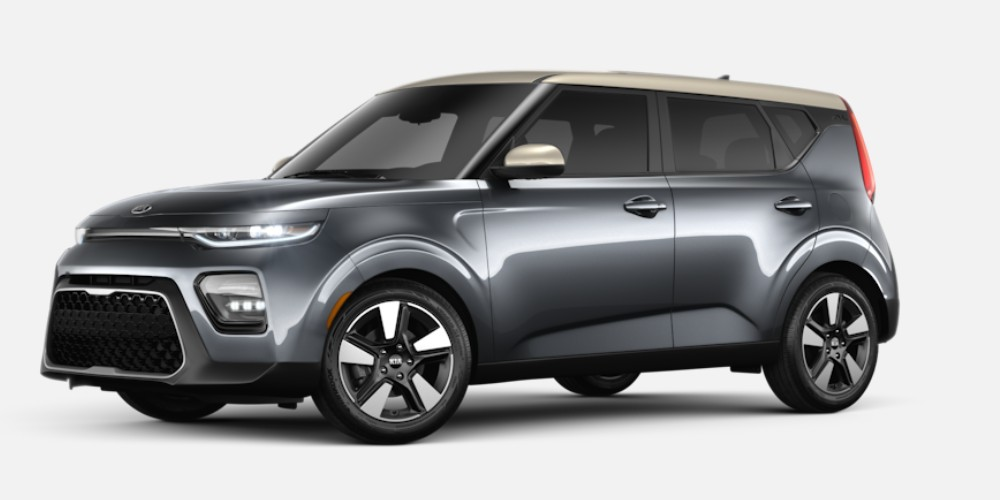 Front driver angle of the 2020 Kia Soul in Gravity Gray color with Platinum Gold roof