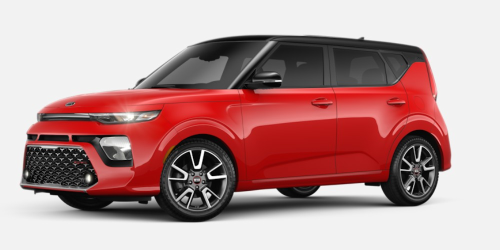 Front driver angle of the 2020 Kia Soul in Inferno Red color with Cherry Black roof