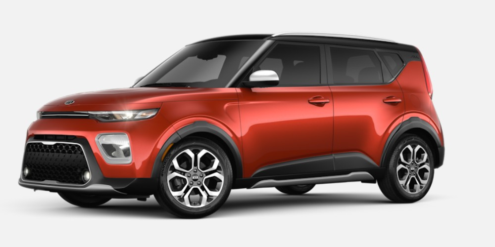 Front driver angle of the 2020 Kia Soul in Mars Orange color with Cherry Black roof