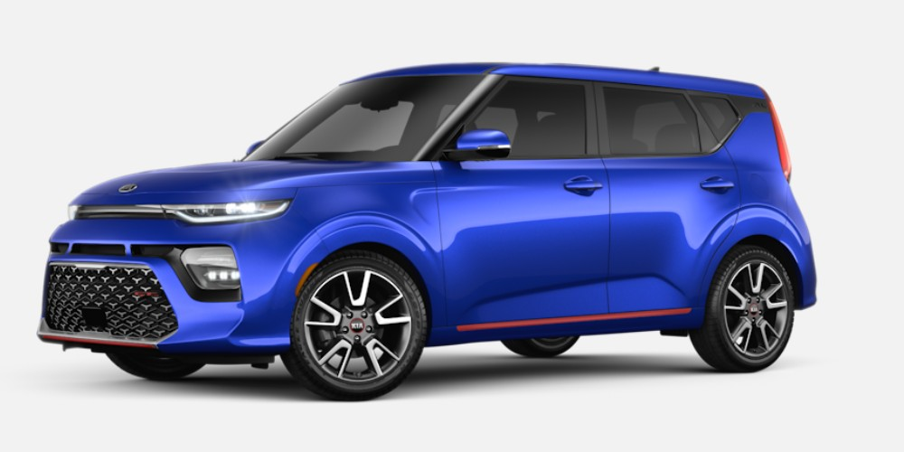Front driver angle of the 2020 Kia Soul in Neptune Blue color