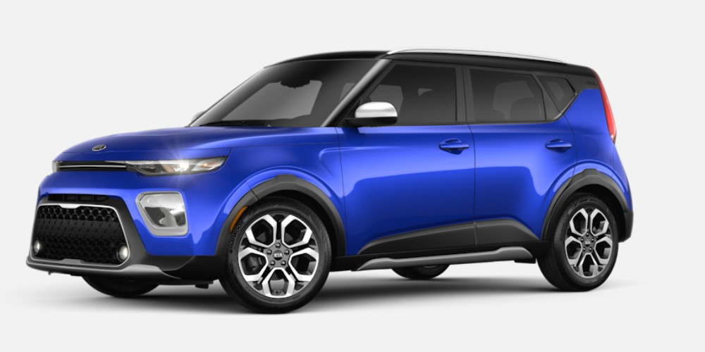Front driver angle of the 2020 Kia Soul in Neptune Blue color with Cherry Black roof