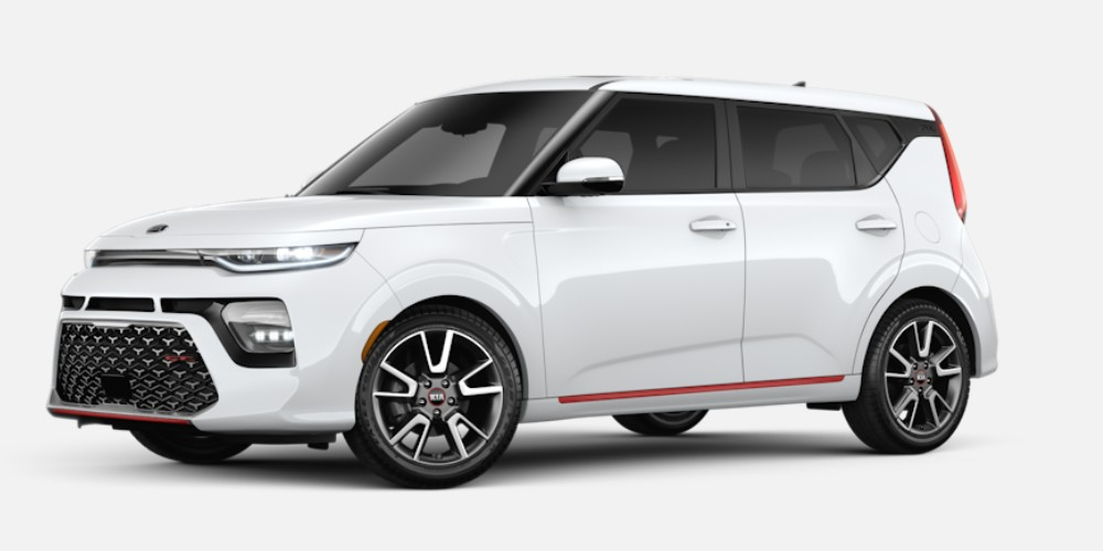 Front driver angle of the 2020 Kia Soul in Snow White Pearl color