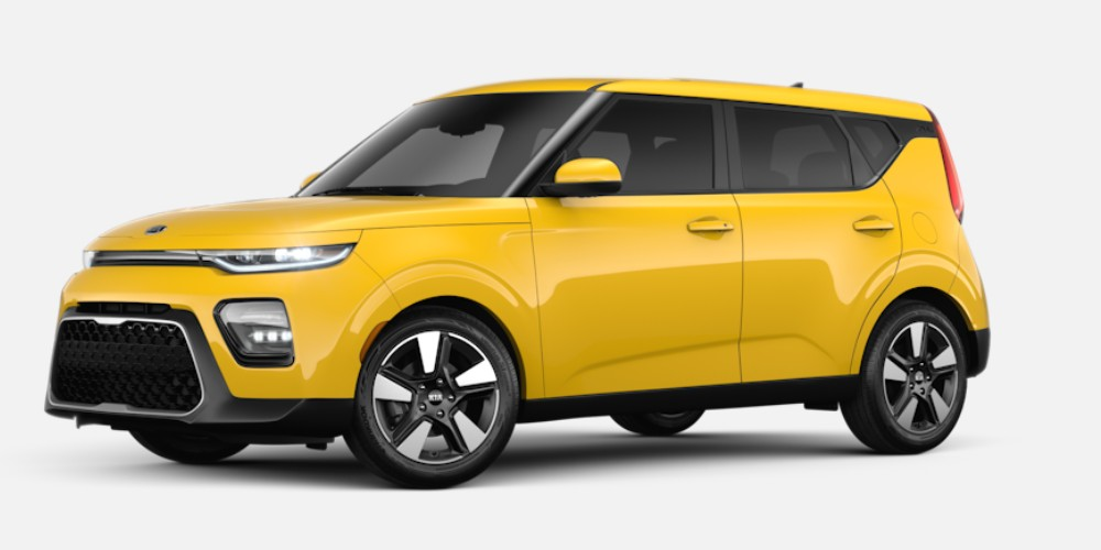 Front driver angle of the 2020 Kia Soul in Solar Yellow color