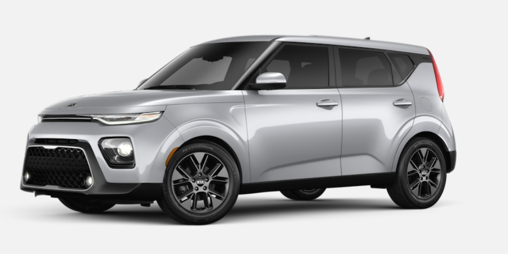 Front driver angle of the 2020 Kia Soul in Sparkling Silver color