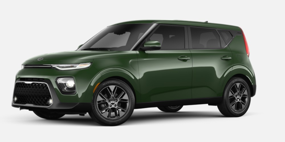 Front driver angle of the 2020 Kia Soul in Undercover Green color