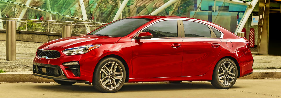 side view of a red 2020 Kia Forte