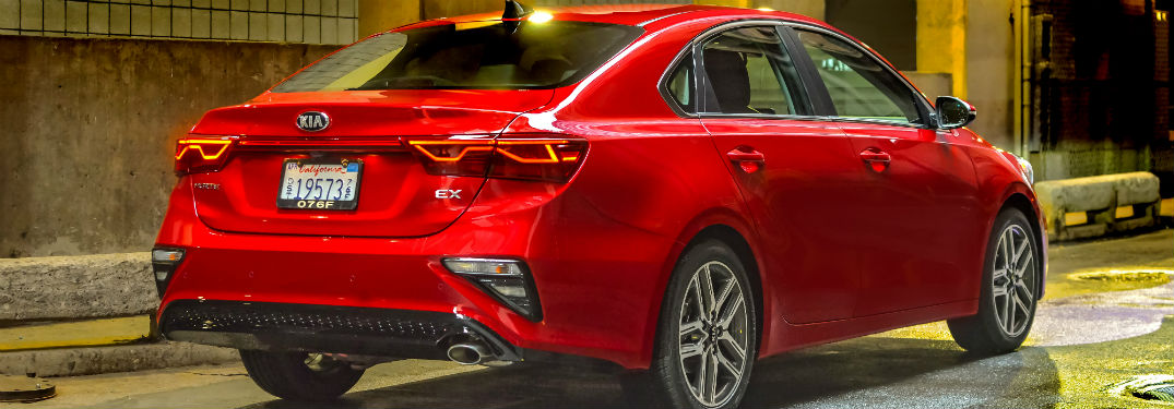 rear view of a red 2020 Kia Forte