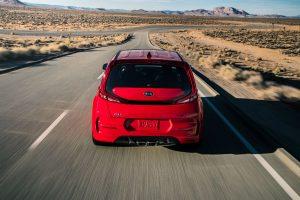 rear view of a red 2020 Kia Soul