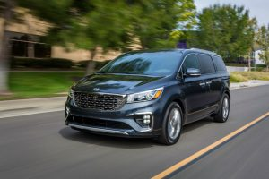 front view of a black 2020 Kia Sedona