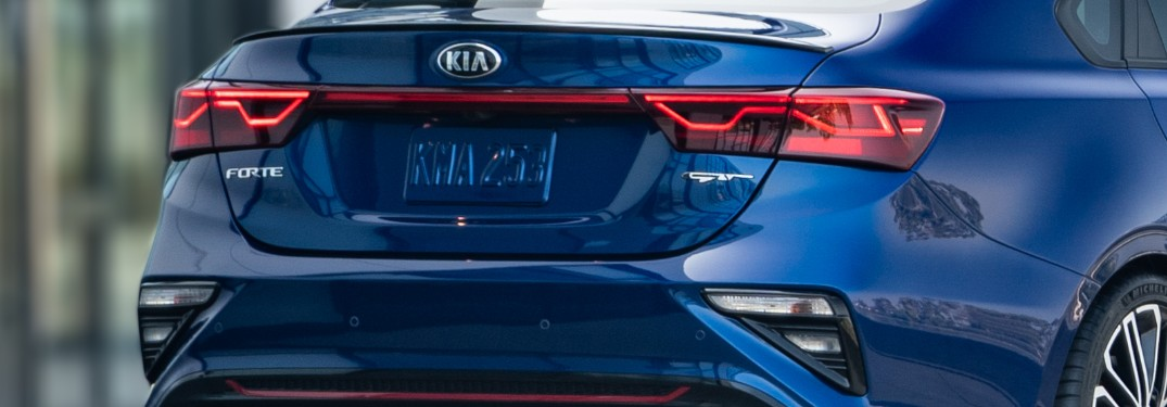 rear end of a blue 2021 Kia Forte