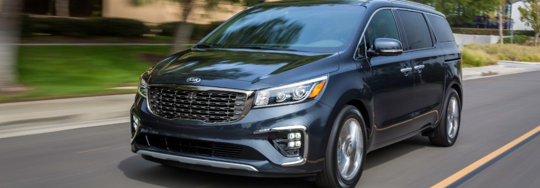 front view of a silver 2020 Kia Sedona
