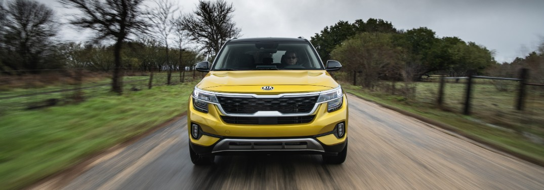 front view of a yellow 2021 Kia Seltos