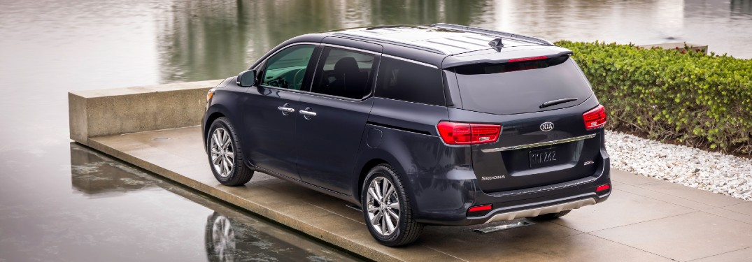 rear view of a black 2021 Kia Sedona