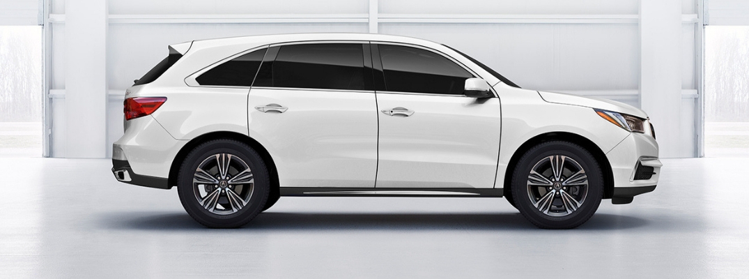 Side profile of white 2019 Acura MDX