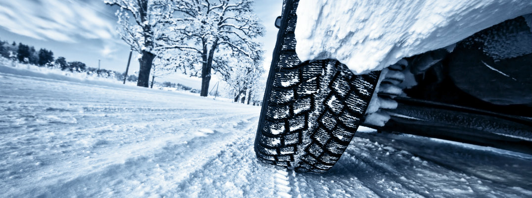 Vehicle driving on a snow-covered road