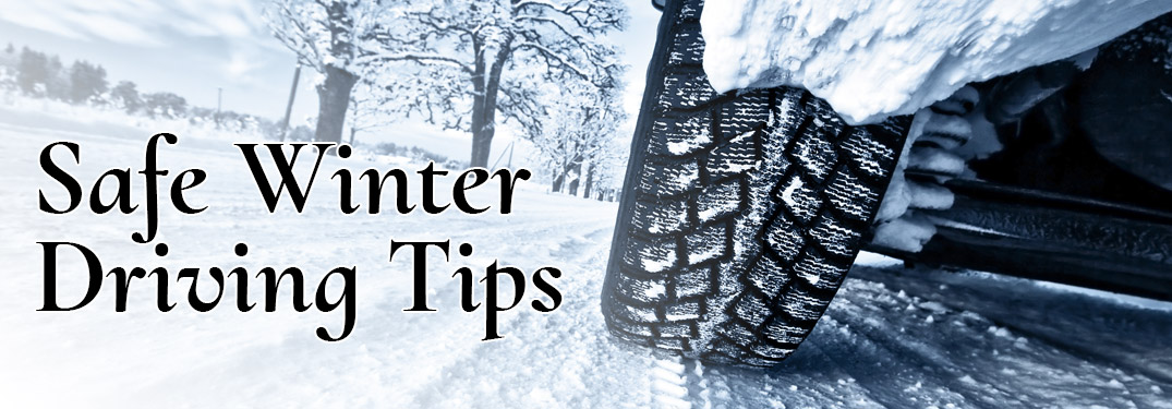 """Closeup of a vehicle's tire driving in the snow with black text stating """"Safe Winter Driving Tips"""""""