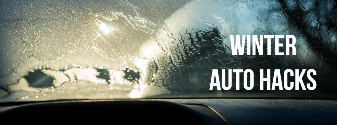 """Image of a windshield slowly defrosting with """"Winter Auto Hacks"""" in white text"""