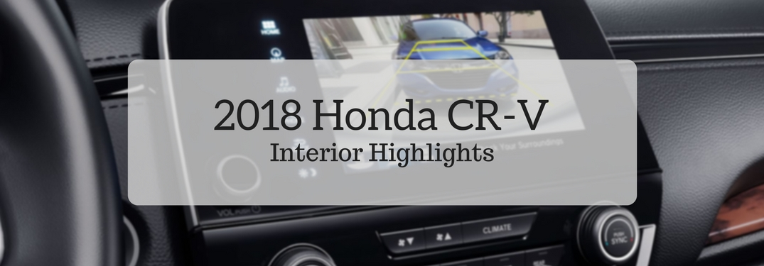 2018 Honda CR-V Interior Highlights over a blurred image of the rearview camera
