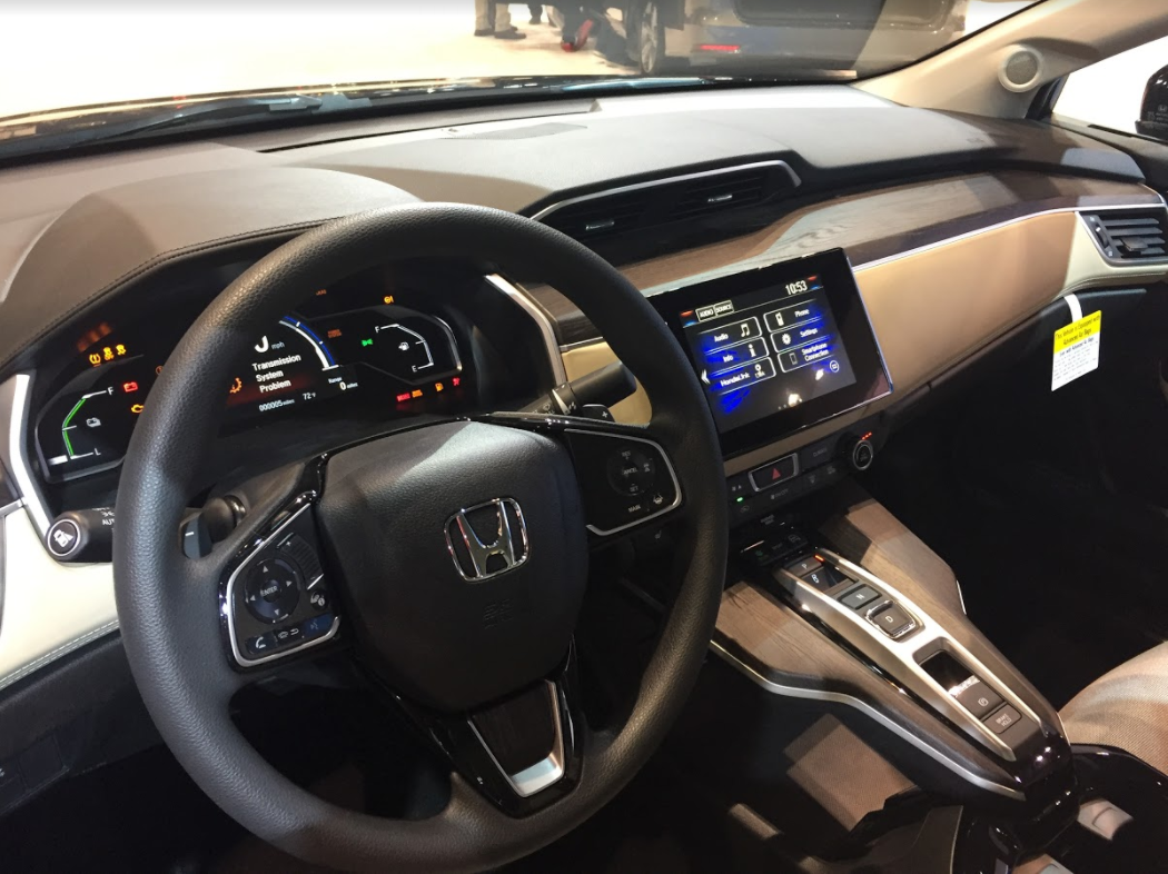 interior front of the Honda Clarity at the 2018 Chicago Auto Show