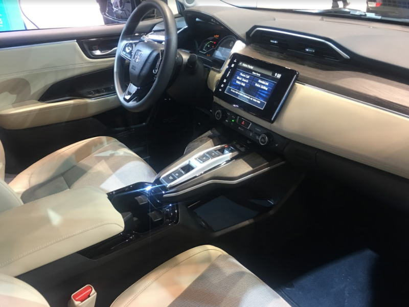 interior of the 2018 Honda Clarity Plug-in Hybrid at the Chicago Auto Show
