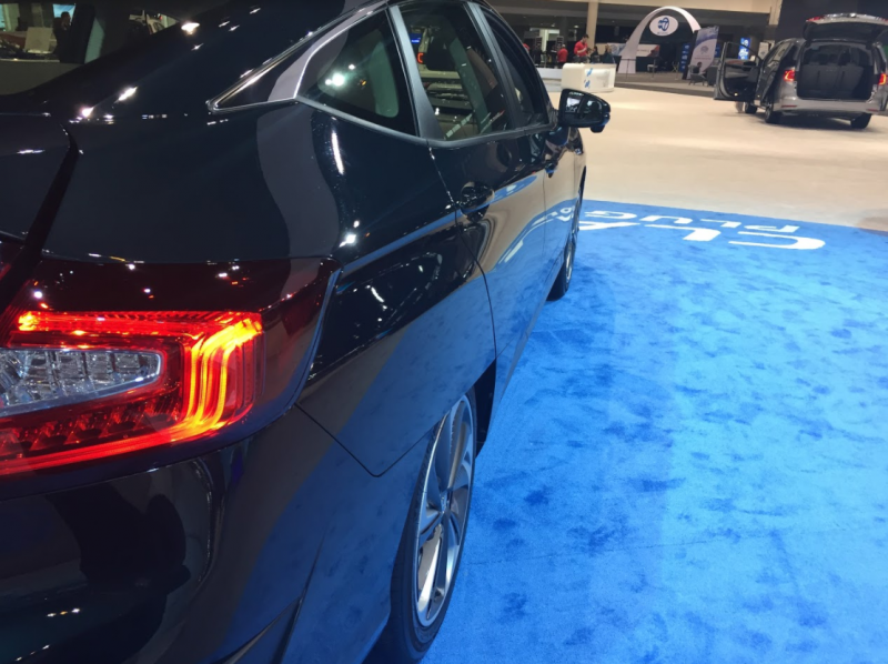 view of the side of the 2018 Honda Clarity Plug-in Hybrid at the Chicago Auto Show