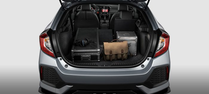 cargo space inside the 2018 honda civic hatchback with the seats down