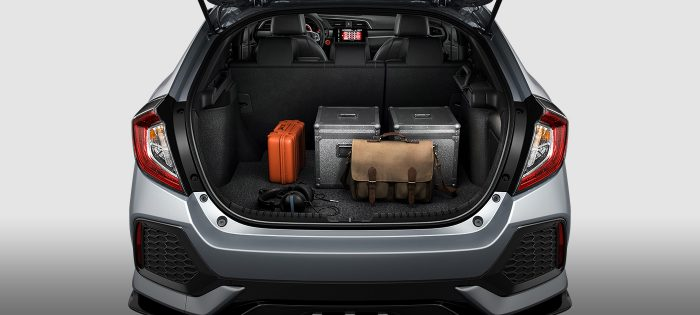 cargo space inside the 2018 honda civic hatchback with the seats up
