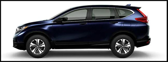 A blue Honda CR-V LX in profile against a white background.