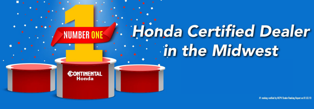Continental Honda Named #1 Certified Dealer in the Midwest