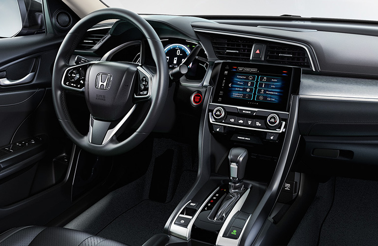 Interior cabin controls and infotainment system on a 2019 Honda Civic.