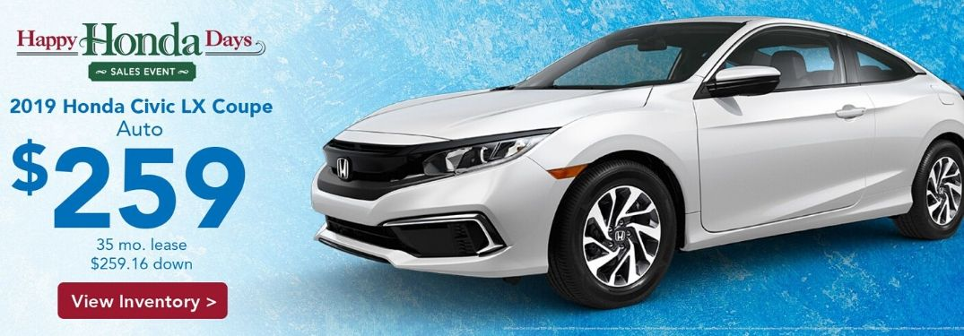 An ad for the Happy Honda Days Sales Event with a white 2019 Honda Civic LX Coupe.