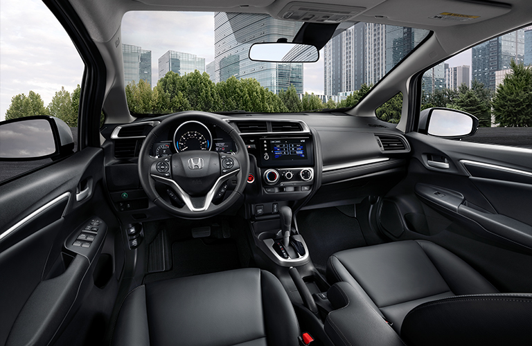Interior front cabin viewed from the driver's seat of the 2020 Honda Fit.