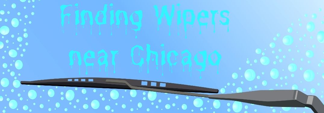 "A windshield wiper wipes a windshield in a cartoon image. Dripping water forms the words, ""finding wipers near Chicago."""