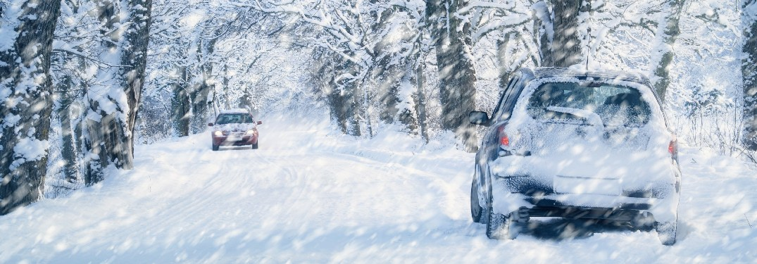 Two cars drive on a snow-covered wooded road.