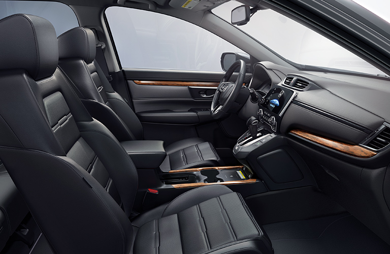 Side view of the interior front row of a 2020 Honda CR-V.
