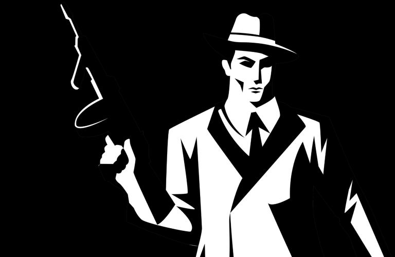 Stylized cartoon silhouette of a mobster holding a tommy gun.